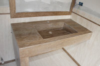 Top da bagno in marmo Travertino Noce